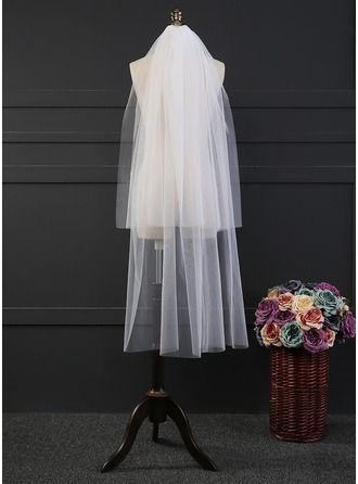 Two-tier Cut Edge Waltz Bridal Veils