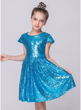 A-Line/Princess Knee-length Flower Girl Dress - Sequined Short Sleeves Scoop Neck