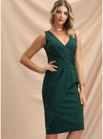 Polyester With Resin solid color/Crumple Knee Length Dress