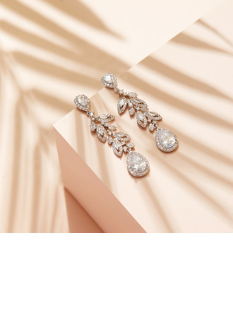 Ladies' Shining Copper/Zircon With Oval Earrings For Her
