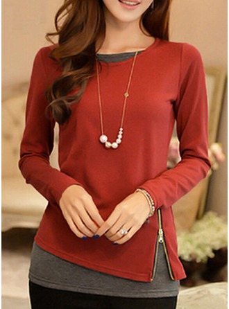 Patchwork Long Sleeves Polyester Round Neck Shirt Blouses Bluzlar