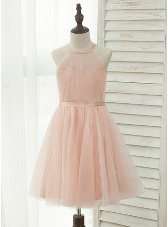 Knee-length Flower Girl Dress - Tulle Charmeuse Sleeveless Halter With Back Hole