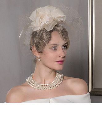 Ladies' Beautiful/Glamourous/Elegant/Exquisite Net Yarn With Flower Fascinators