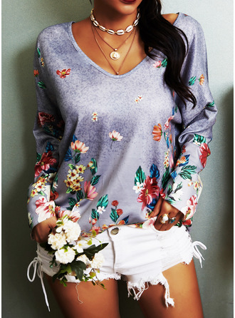 Regular Cotton Blends V-Neck Floral Print Knit Blouses