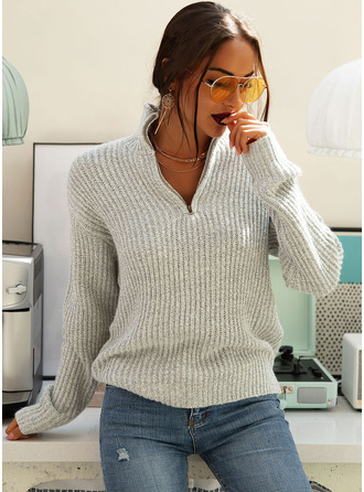 Ribbed Chunky knit Solid Polyester V-neck Pullovers Sweaters