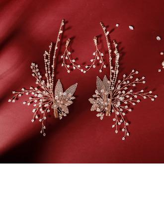 Ladies Elegant Rhinestone Combs & Barrettes With Rhinestone (Set of 4)
