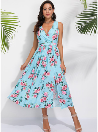 Polyester With Print Midi Dress