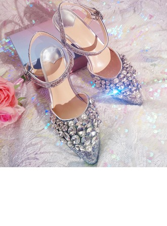 Femmes Pailletes scintillantes Talon stiletto À bout ouvert Sandales Beach Wedding Shoes avec Strass
