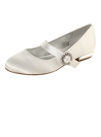 Women's Silk Like Satin Low Heel Closed Toe Flats MaryJane With Buckle