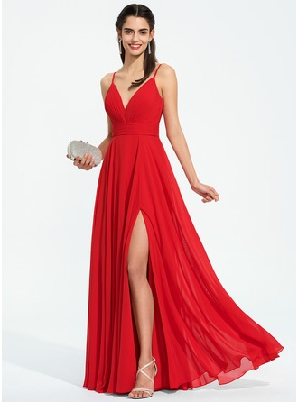 V-neck Floor-Length Chiffon Evening Dress With Ruffle Split Front