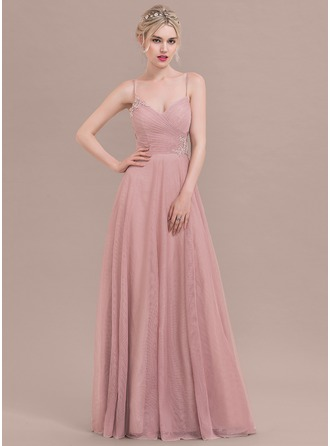A-Line/Princess Sweetheart Floor-Length Tulle Prom Dress With Ruffle Appliques Lace