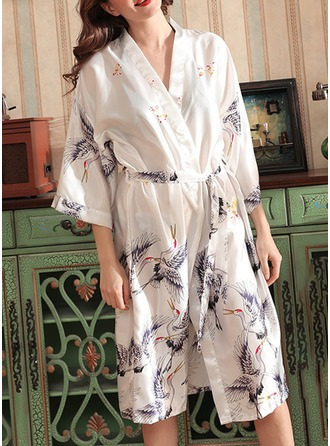 Non-personalized Charmeuse Bride Bridesmaid Mom Floral Robes