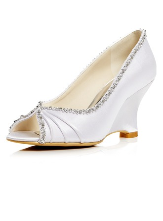 Women's Satin Wedge Heel Peep Toe Pumps Sandals With Rhinestone