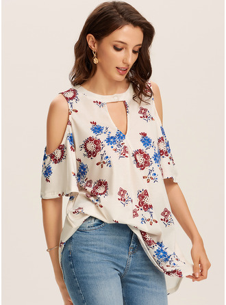 1/2 Sleeves Polyester Cold Shoulder Knit Blouses