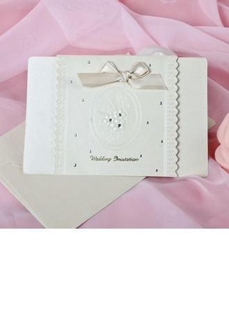 Floral Style Top Fold Invitation Cards With Bows