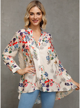3/4 Sleeves Polyester V Neck Halenky