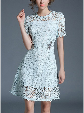 Lace With Lace/Sequins/Hollow Above Knee Dress