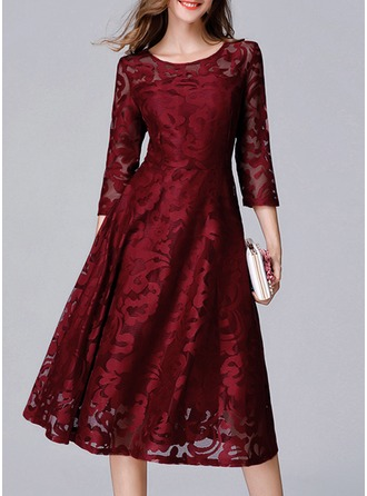 Lace With Lace/Resin solid color Knee Length Dress