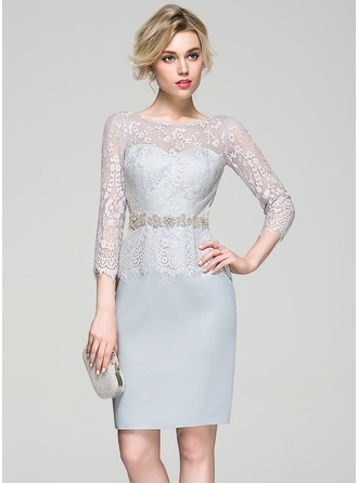 Sheath/Column Scoop Neck Knee-Length Satin Lace Cocktail Dress With Beading