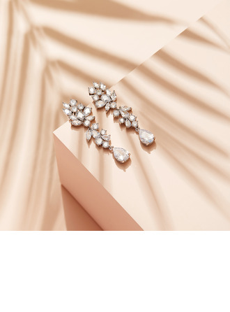 Non-personalized Ladies' Beautiful Zircon Earrings For Her