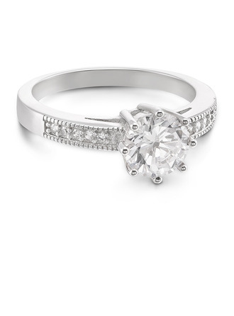 Sterling Silver Cubic Zirconia Halo Round Cut Engagement Rings Promise Rings -