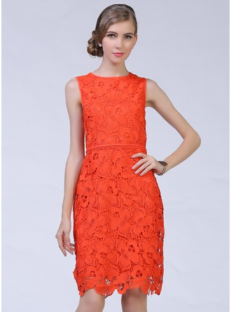 Cotton/Lace With Lace Knee Length Dress