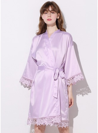 Non-personalized Charmeuse Bride Bridesmaid Mom Junior Bridesmaid Blank Robes Lace Robes