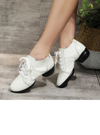 Women's Real Leather Sneakers Modern Jazz Sneakers With Lace-up Dance Shoes