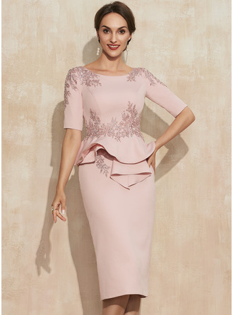Sheath/Column Scoop Neck Knee-Length Stretch Crepe Mother of the Bride Dress With Beading Appliques Lace Sequins Cascading Ruffles