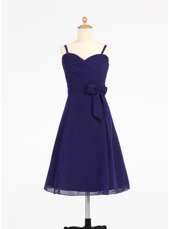 A-Line/Princess Sweetheart Knee-Length Chiffon Junior Bridesmaid Dress With Ruffle Bow(s)
