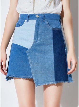 Demin Skirts Mini Patchwork Denim Skirts
