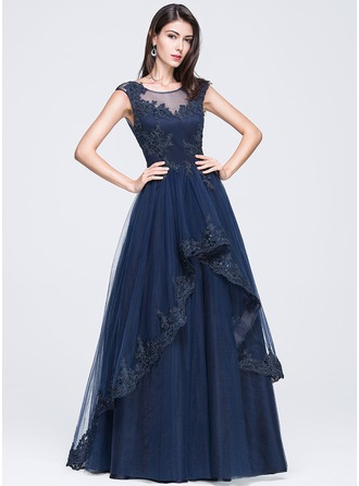 Ball-Gown Scoop Neck Floor-Length Tulle Prom Dress With Beading Appliques Lace Sequins