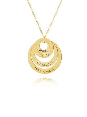 Custom 18k Gold Plated Engraving/Engraved Circle Family Four Name Necklace Circle Necklace With Kids Names