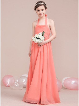A-Line/Princess Halter Floor-Length Chiffon Junior Bridesmaid Dress With Ruffle Bow(s)
