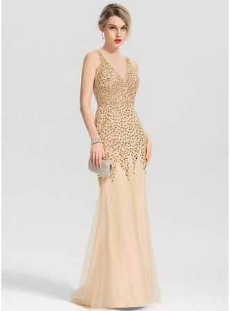 Sheath/Column V-neck Sweep Train Tulle Prom Dresses With Beading Sequins