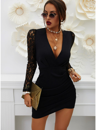 Lace Solid Bodycon V-Neck Long Sleeves Puff Sleeves Midi Casual Little Black Dresses