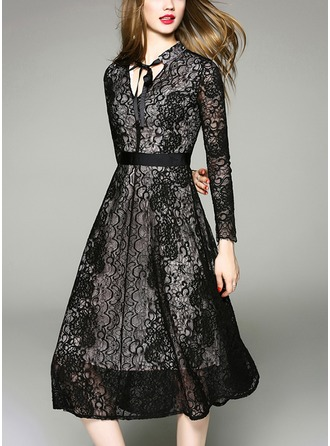 Polyester With Lace/Bowknot/Stitching Knee Length Dress