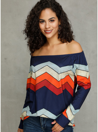 Long Sleeves Cotton Polyester Off the Shoulder Knit Blouses