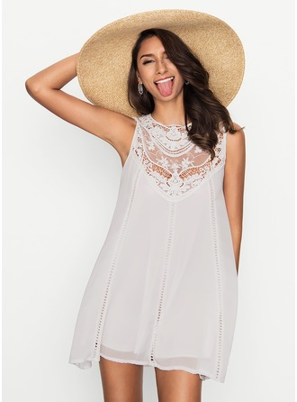 Chiffon With Lace Above Knee Dress