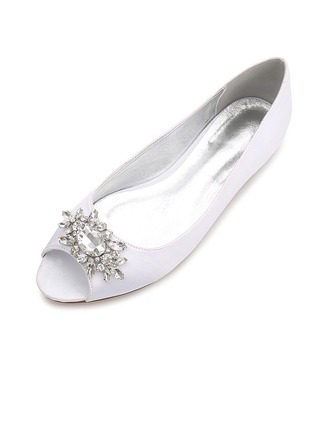 Women's Silk Like Satin Flat Heel Flats Peep Toe With Buckle
