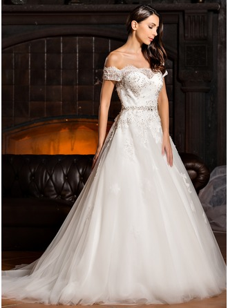 Ball-Gown Off-the-Shoulder Court Train Tulle Wedding Dress With Beading Appliques Lace Sequins