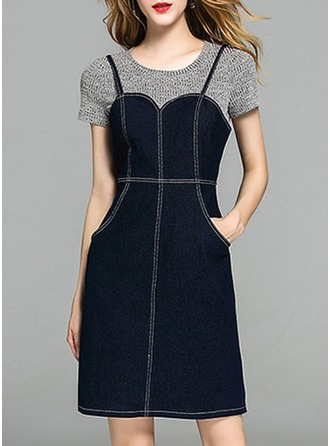 Denim With Stitching Above Knee Dress (Two Pieces )