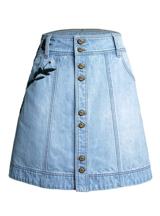 Demin Skirts Above Knee Embroidery Cotton Skirts