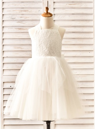 Ball Gown Knee-length Flower Girl Dress - Tulle/Lace Straps With Bow(s)