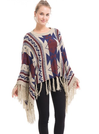 Geometric Print Oversized/fashion/simple/Cold weather Artificial Wool Poncho