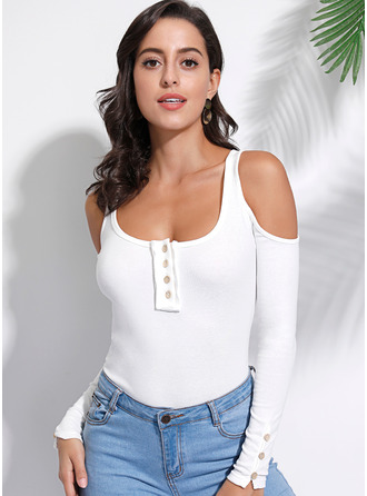Long Sleeves Polyester Cold Shoulder Knit T-shirt Blouses