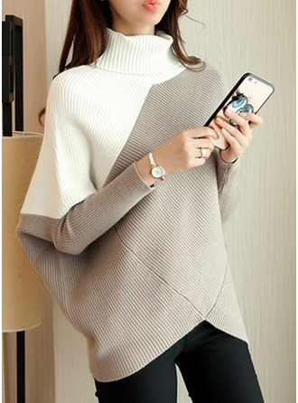 Color Block Cotton Turtleneck Sweater Sweaters