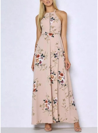Chiffon With Bowknot/Print/Hollow Maxi Dress