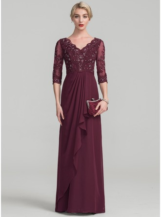 A-Line/Princess V-neck Floor-Length Chiffon Lace Evening Dress With Beading Cascading Ruffles