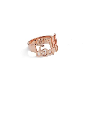 Personalized Ladies' Romantic Rose Gold Plated With Round Name Rings Rings For Mother/For Friends/For Couple